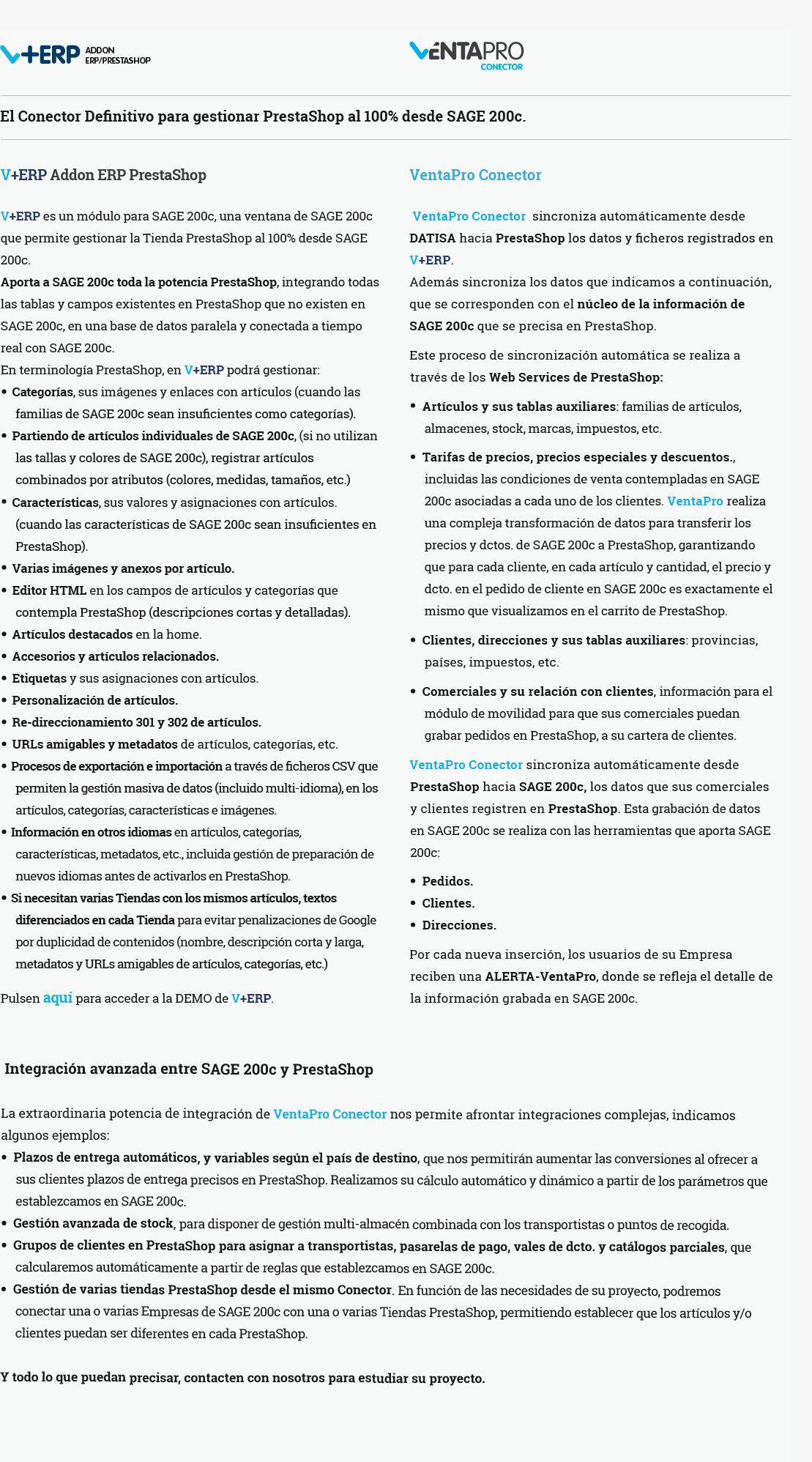 Características de VentaPro Conector con SAGE 200c